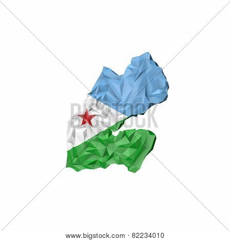 Low Poly Djibouti Map With National Flag
