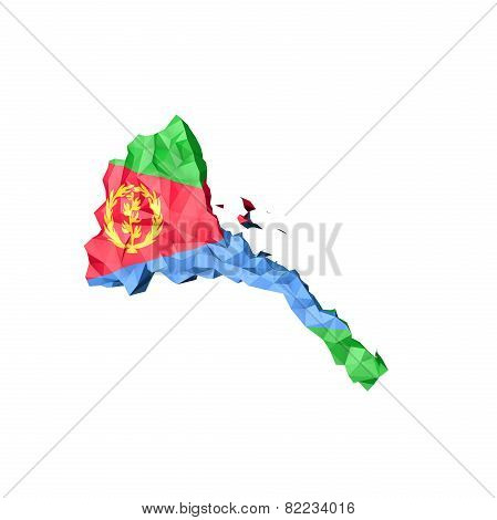 Low Poly Eritrea Map With National Flag