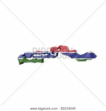Low Poly Gambia Map With National Flag