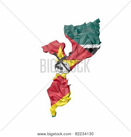 Low Poly Mozambique Map With National Flag