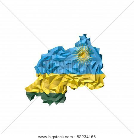 Low Poly Rwanda Map With National Flag