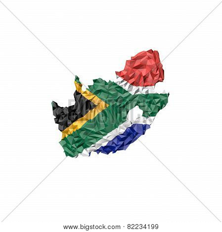 Low Poly South Africa Map With National Flag