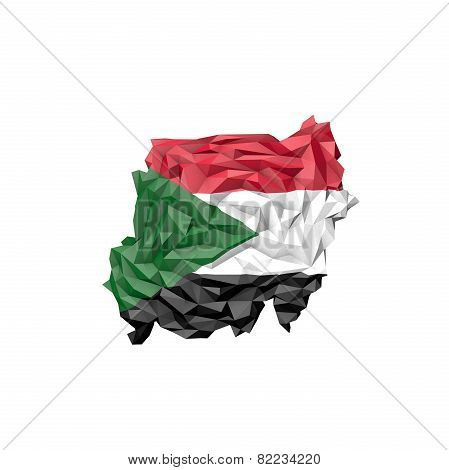 Low Poly Sudan Map With National Flag