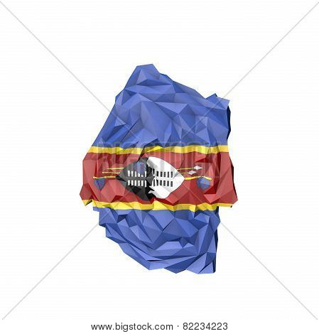 Low Poly Swaziland Map With National Flag