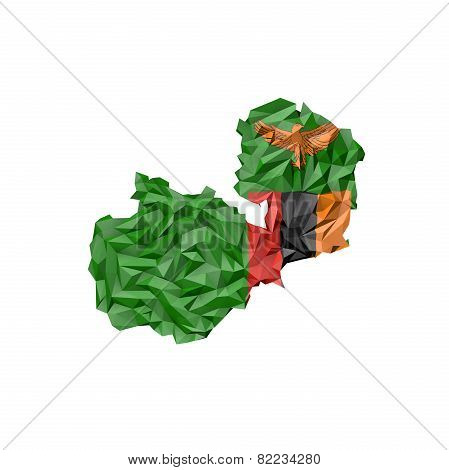 Low Poly Zambia Map With National Flag