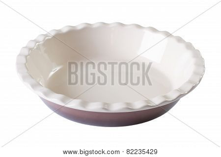 Round Baking Dish Empty Isolated On White . Horizontal Close-up