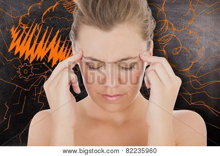 Woman with headache against black background