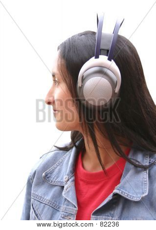 Girl With Wireless Headphones