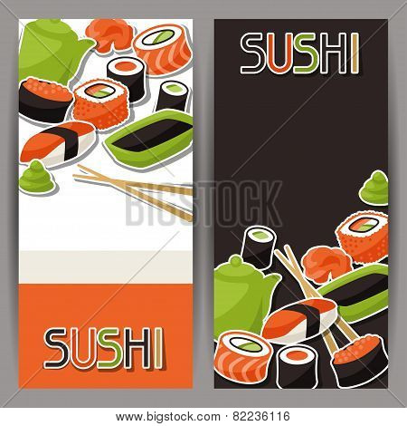 Banners with sushi.
