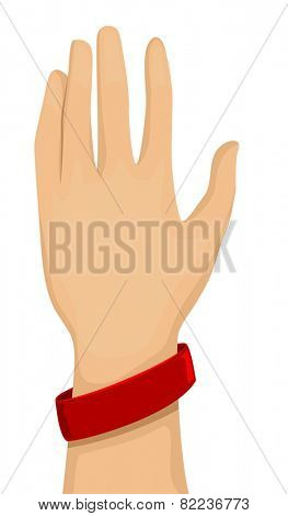 Cropped Illustration of an Arm Wearing a Red Baller Bracelet