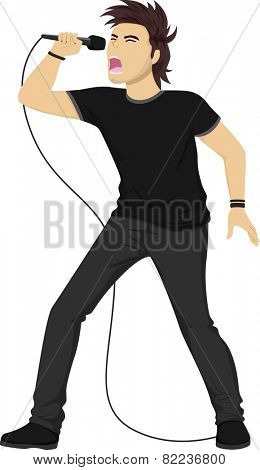 Illustration of a Teenage Boy in Black Clothing Singing a Rock Song