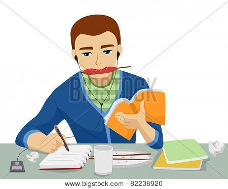 Illustration of a Teenage Boy Studying While Eating, Writing, and Listening to Music