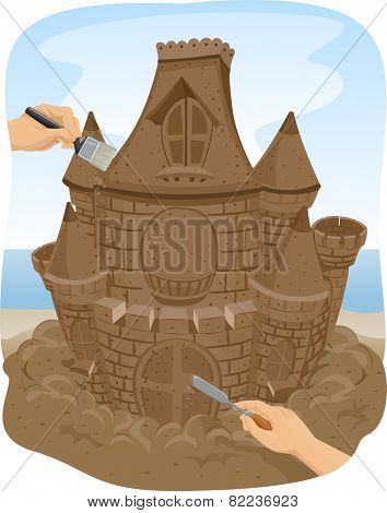 Illustration of People Making a Sand Sculpture of a Castle