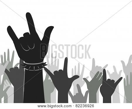 Illustration of Silhouettes of Hands Doing the Rock Sign