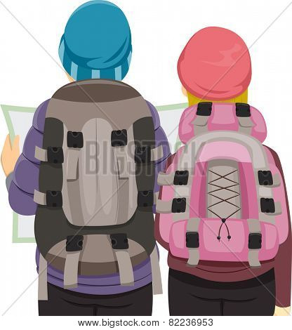Back View Illustration of a Traveling Couple Wearing Similar Backpacks