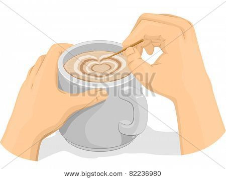 Illustration of Someone Making Latte Art on Their Coffee