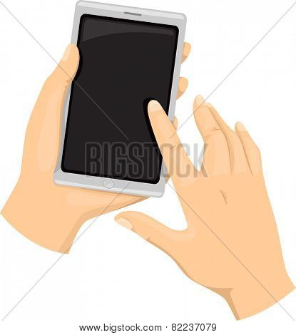 Cropped Illustration of a Person Using a Touchscreen Smartphone