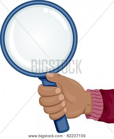 Illustration of an African Hand Holding a Magnifying Glass