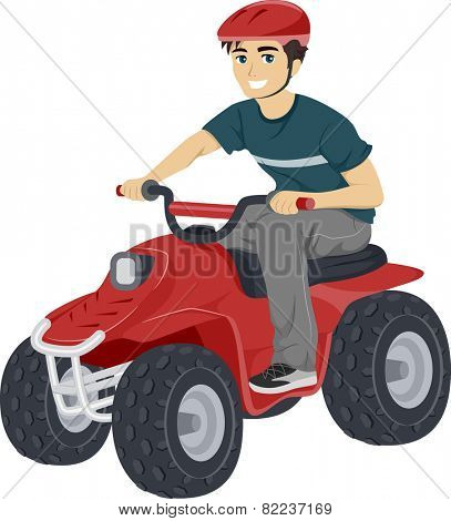 Illustration of a Teenage Boy Driving a Quad Bike