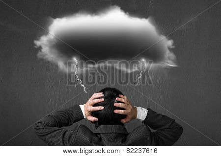 Depressed Businessman With Dark Cloud Rain Lightning Over His Head