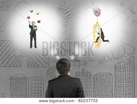 Business Man Imagining Work Situation With Doodles Concrete Wall