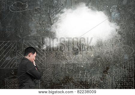 Businessman Thinking About White Cloud Thought Bubble With Doodles Wall