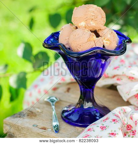 Chocolate Ice Cream In A Blue Bowl