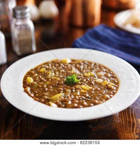 vegan lentil stew with pumpkin peices