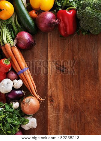 vegetable medley on cutting board shot top down