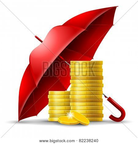 Two stacks of golden coins under an red umbrella