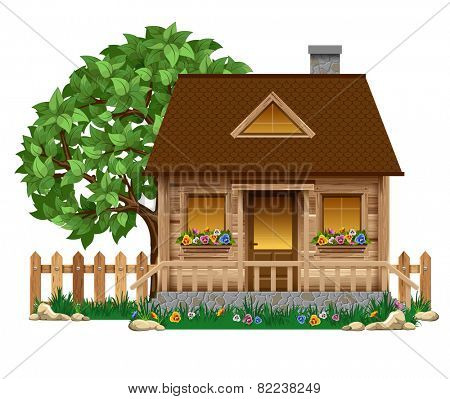 Small wooden boardwalk house with fruit tree and fence