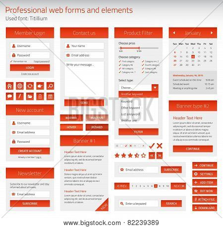 Professional Set Of Orange Web Forms And Elements On Light Background
