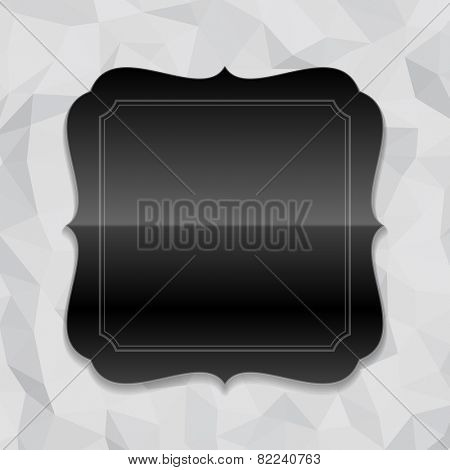 Vintage style black shiny label frame design and origami paper vector background. Retro luxury frame, badge, premium quality design element.