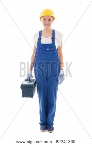 Woman In Blue Builder Uniform With Toolbox Isolated On White