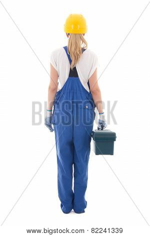 Back View Of Woman In Blue Builder Uniform With Toolbox Isolated On White