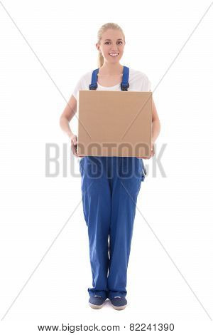 Delivery Concept - Woman In Blue Workwear With Cardboard Box Isolated On White