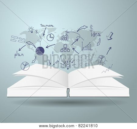 Book with drawing charts and graphs business strategy plan concept idea on world map, Vector illustr