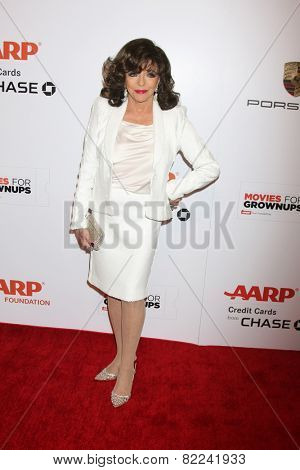 LOS ANGELES - FEB 2:  Joan Collins at the AARP 14th Annual Movies For Grownups Awards Gala at a Beverly Wilshire Hotel on February 2, 2015 in Beverly Hills, CA