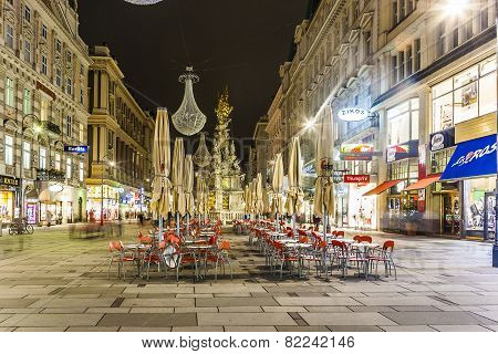 Famous Graben Street At Night With Rain Reflection On The Cobbles