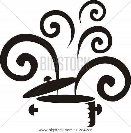 Black and white curly steaming cooking soup stew pot