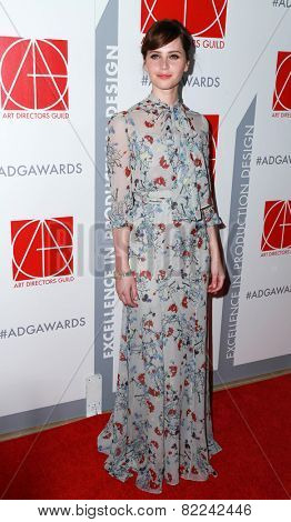 LOS ANGELES - JAN 31:  Felicity Jones at the 19th Annual Art Directors Guild Excellence in Production Design Awards at a Beverly Hilton Hotel on January 31, 2015 in Beverly Hills, CA