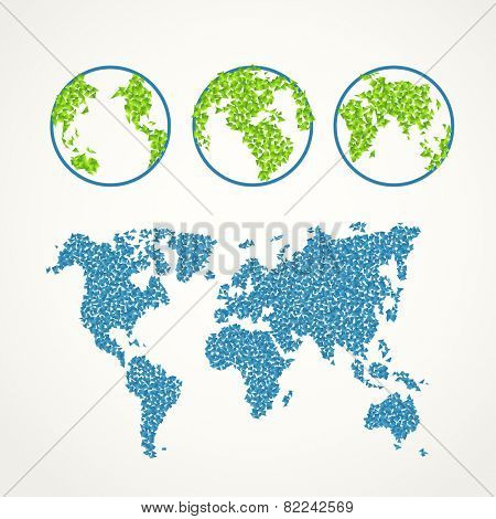 Flat design illustration of the Earth. Illustration with abstract gradient polygonal pieces