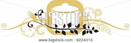 Ornamental Decorative Cooking Pot Header Border
