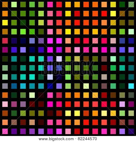 Multicolored square blocks on a black background.