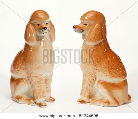Poodle Dog ceramic figurine, isolated on white