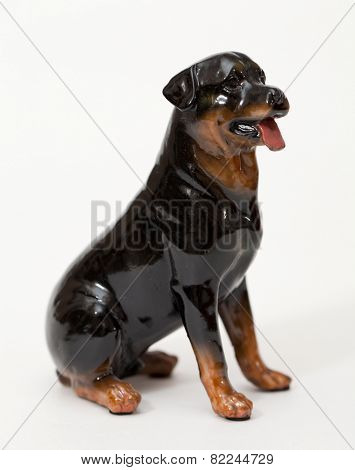 Labrador Retriever Black. Ceramic figurine, dog breed isolated on white
