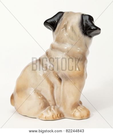 French Bulldog. Ceramic figurine, dog breed isolated on white