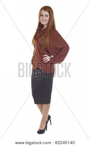 Red-haired young woman, isolated on white background