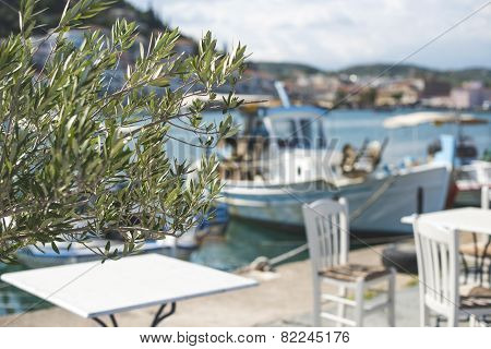 Typical Greek Restaurant And Boat