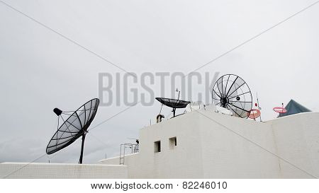 Many Satellite Dishes On The Roof